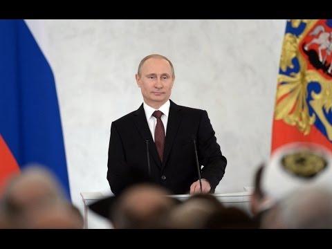 Путина встречают овациями. Крымское обращение Путина к парламенту