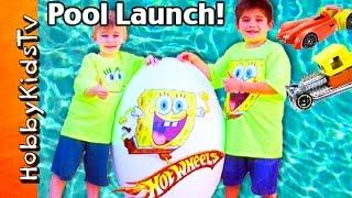 Giant SPONGE BOB Hot WHEELS Race Track Pool Launch! Huge Kinder Surprise Eggs by HobbyKidsTV