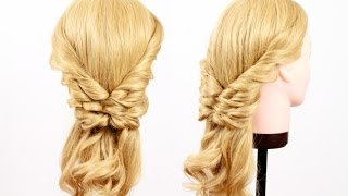 Смотреть онлайн Красивая прическа из жгутиков для длинных волос