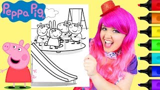 Coloring Peppa Pig & Friends Merry Go Round Coloring Page Prismacolor Markers | KiMMi THE CLOWN