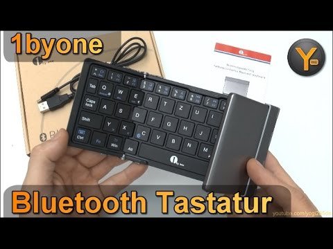 1byone Bluetooth Tastatur zum Einklappen für Smartphone / Tablet / Windows PC / iPhone / Android etc