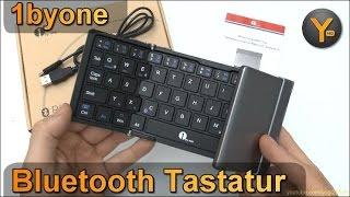 1byone Bluetooth Tastatur zum Einklappen für Smartphone / Tablet / Windows PC / iPhone / Android etc