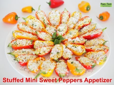 Quick easy Stuffed Sweet Mini Peppers Party Appetizer Recipe | sweet mini pepper snack recipe