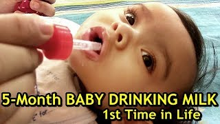 Baby Drinking Cow Milk First Time | 5 Month Old Baby Drinking Cow Milk 1st Time (Reaction Video)