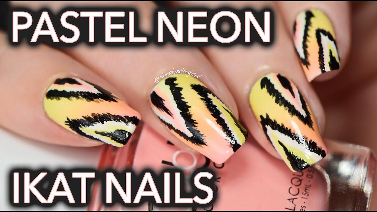 Pastel neon ikat nail art thumbnail