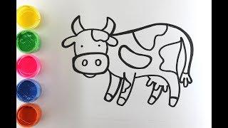 Рисуем домашних  животных. Корова, и хрюшка) Рисунки для детей ,Drawings for children