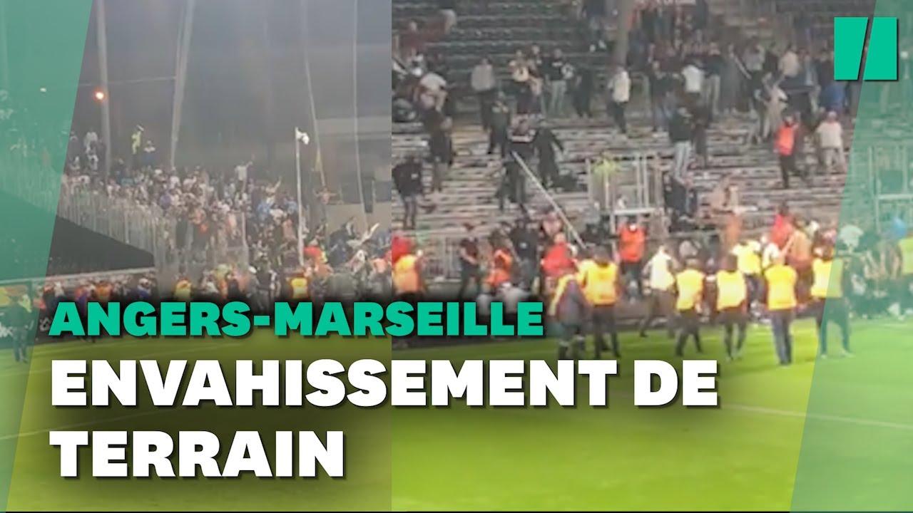 Angers-Marseille: Des incidents entre supporters sur la pelouse après le match