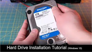 Desktop Hard Drive Installation Tutorial | Western Digital Blue 4TB  | Initialization | Benchmark