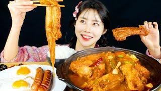 MUKBANG ASMR   Delicious! Tender Back Rib🍖 and Kimchi Stew Eat Korean Eatingshow 아라 Ara Realsound