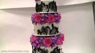 5 Tier Flower & Lace Wedding Cake