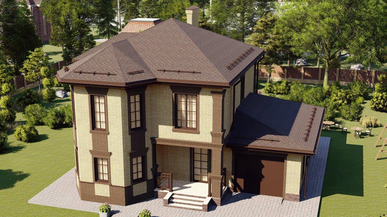 Красивый проект двухэтажного дома с эркером и гаражом 173 м2