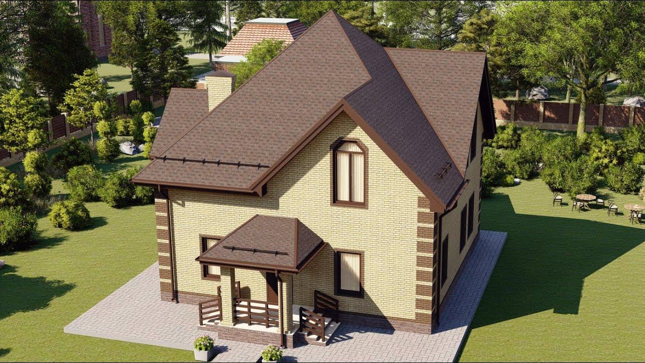 Проект дома из газобетона с мансардным этажом 173 м2