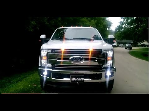 2017 F-250 LED HEADLIGHTS and STROBES and SIREN  by Wicked Warnings