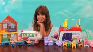 Peppa Pig: Peppa Pig House Boat Story with Peppa Pig Plane and Bus Toys