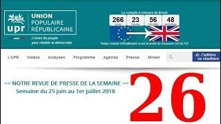 Revue de Presse UPR semaine n°26