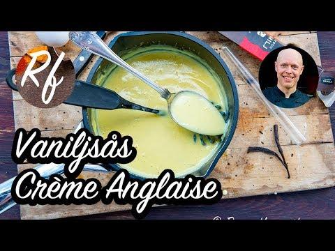 Vaniljsås eller Crème Anglaise. Laga en vaniljsås från grunden med äggulor, socker, mjölk och/eller grädde och såklart äkta vaniljstång.>