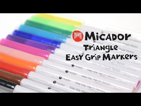 Micador Triangle Easy Grip Markers, Pack 12