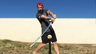 Can I Cut A Baseball In Half With A Ninja Sword? IRL Baseball Challenge