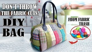 DIY STYLISH PATCHWORK PURSE BAG EASY TO SEW // Handmade Bag Out Of Pieces Of Fabric