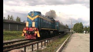 Тепловозы ТЭМ2 с вагонами электропоезда ЭР1 / TEM2 locos with ER1 EMU cars