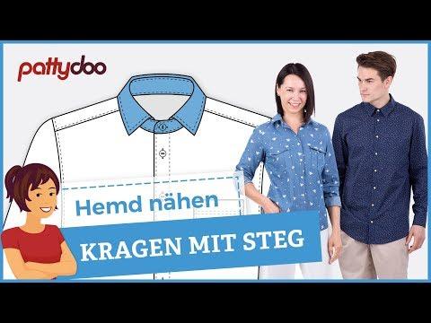 Anleitung Hemd nähen lernen - Teil 2: Hemdkragen mit Steg (mit Fadenmethode)