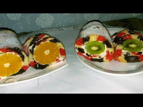 Рулет с фруктами  Так вкусно и красиво  Fruit roll