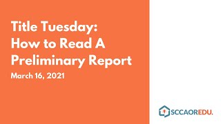 Title Tuesday: How to Read A Preliminary Report