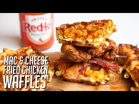 Mac & Cheese Fried Chicken Waffle Sandwiches