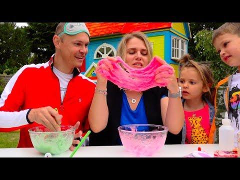 Три ЦВЕТА лизун челлендж РОДИТЕЛИ все смогут... 3 colors SLIME challenge PARENTS edition (видео)