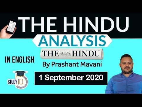 English 1 September 2020 - The Hindu Editorial News Paper Analysis [UPSC/SSC/IBPS] Current Affairs