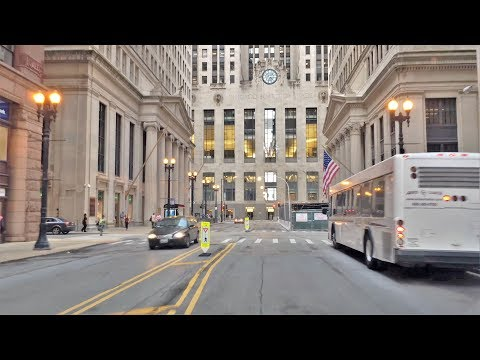 Driving Downtown - Chicago Wall Street 4K - USA