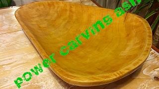 Power Carving Ash End Grain Bowl