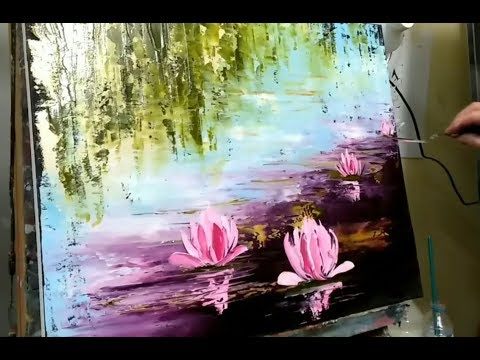 KNIFE PAINTING - WATER LILY by NELLY LESTRADE (english subtitles)