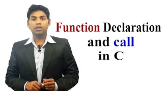 Function Declaration and Call in C (HINDI)