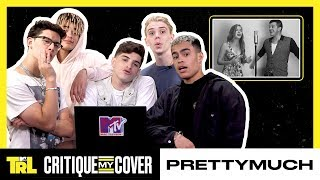 PRETTYMUCH React To A Fan Cover Of 'Open Arms' 🎤    Critique My Cover   TRL