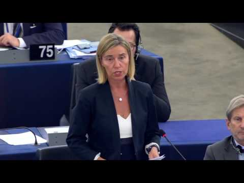 Federica Mogherini debates the situation in Turkey at the European Parliament Plenary