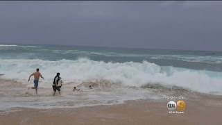 Man Saves Boy From Drowning From Powerful Waves