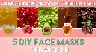 5 DIY FACE MASKS For Flawless Skin - Homemade Natural ACNE Remedies / Anti Ageing Etc | PEACHY