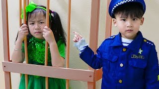 Jannie & Liam Pretend Play LOCKED UP Police in Jail