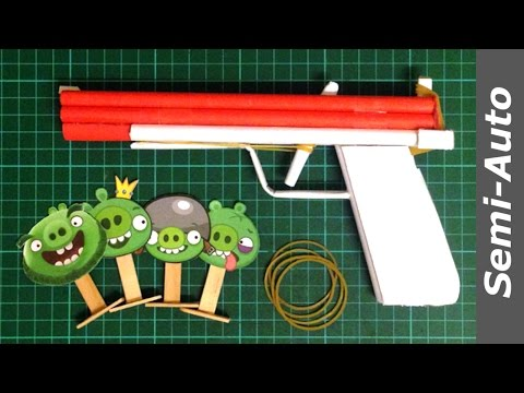 How to make a Paper GUN that Shoots multiple Rubber Band (Semi-auto)