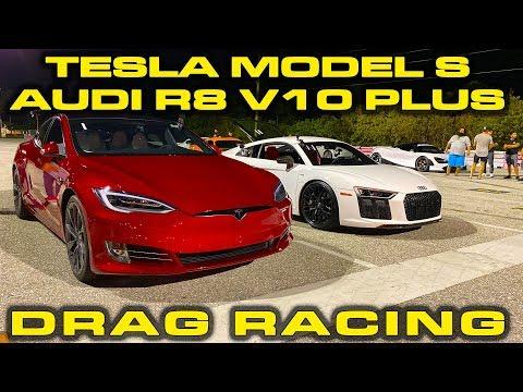 Tesla Model S Performance Raven vs Audi R8 V10 Plus Drag Racing 1/4 Mile