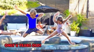 6 YEAR OLD AVA DOES CRAZY FLEXIBLE GYMNASTIC MOVES AT BIRTHDAY PARTY!