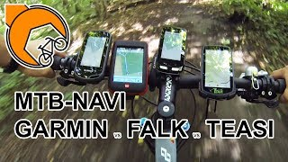 MTB-Navi: Garmin Oregon 600, Edge 1000, Falk Ibex 32 oder Teasi One