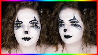 Black & White Clown Costume Makeup for Halloween