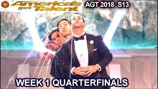 Human Fountains WILD CARDS Hotdogs & Champagne  Quarterfinals 1 America's Got Talent 2018 AGT