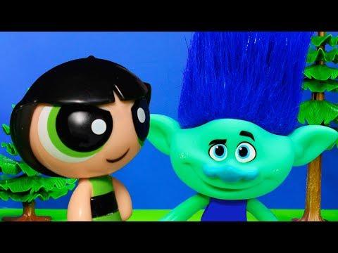 POWERPUFF GIRLS Cartoon Network Saves Trolls Funny Kids Toys Video Parody