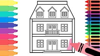 How to Draw a Doll House - Learn Drawing for Kids - Art Colors for Kids - Tanimated Toys
