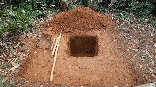 Survival Skills: Pit Latrine - Dig hole and building toilet in the middel of the jungle