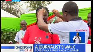 Vihiga based newspaper journalist  completes his charity walk from Vihiga to Nairobi