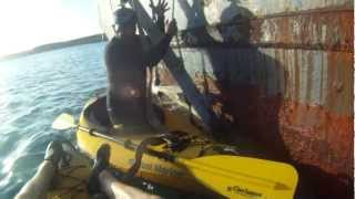 preview picture of video 'Kayak - Discover The Wave Runner Wreckage in Mercer Creek Bay Antigua East Caribbean'
